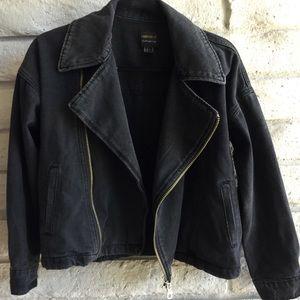 black denim moto jacket